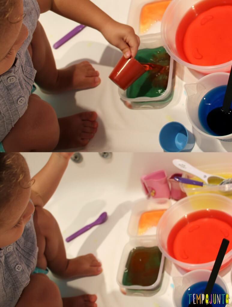 Uma atividade com água colorida que vai fazer a alegria dos pequenos - misturando cores marrom