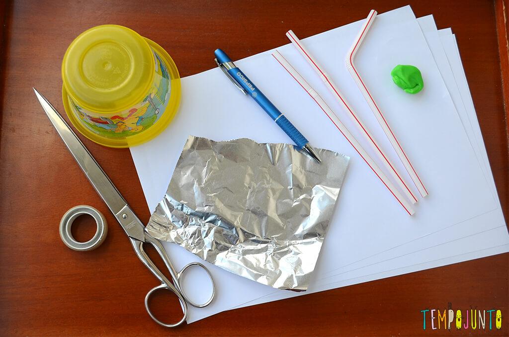 Um brinquedo caseiro fácil, divertido e que desafia a gravidade - materiais