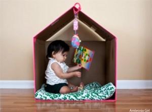 cabana em casa - casinha caixa de papelão