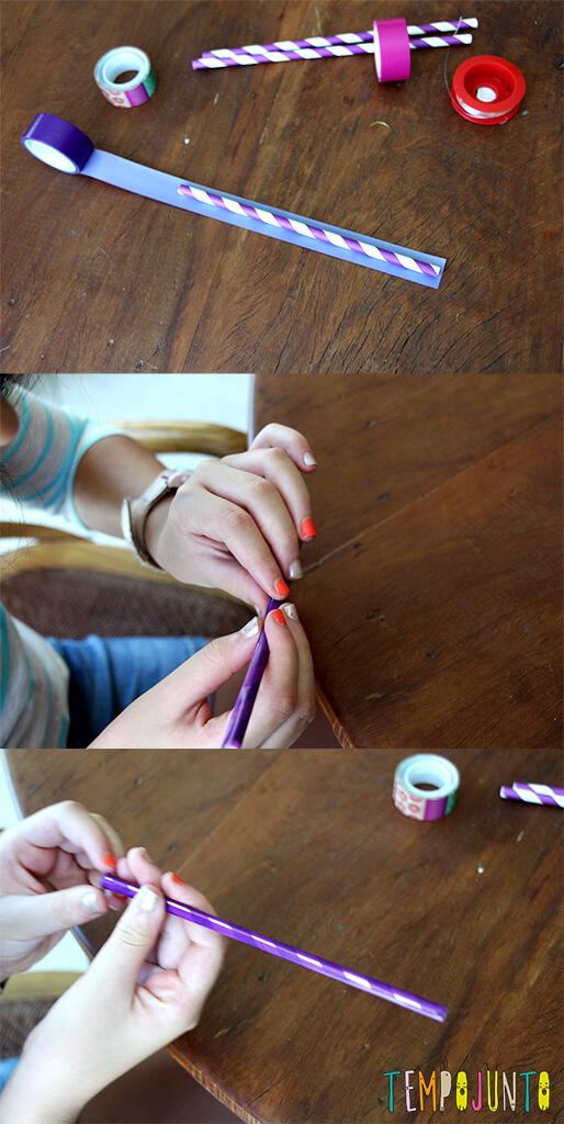 Faça você mesmo- pulseira de canudo - colando a fita