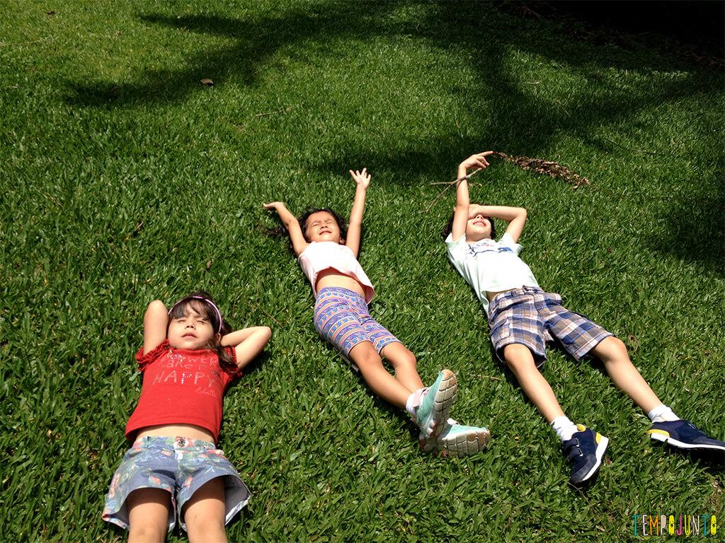 Tempo das crianças - crianças na grama