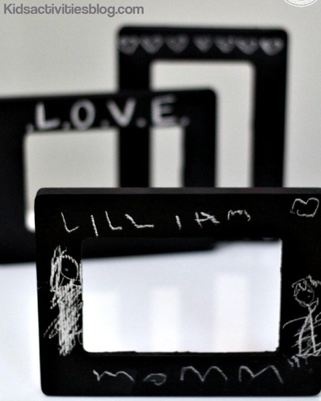 10 presentes feitos em casa para o dia dos pais - porta retrato de lousa
