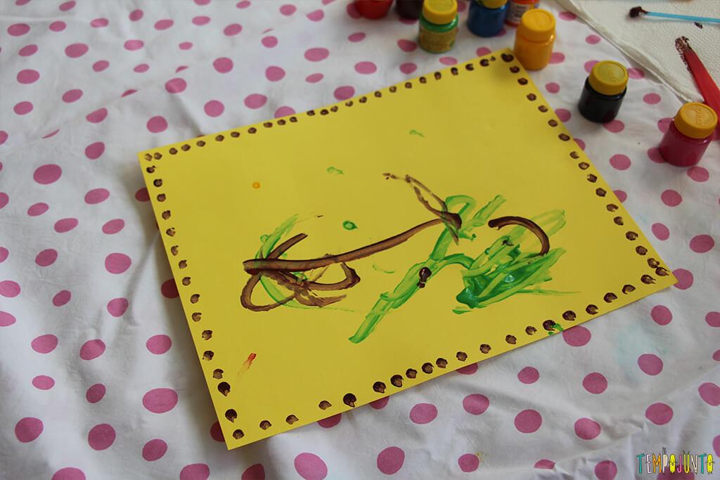 Pintura com cotonete, um jeito diferente dos pequenos fazerem arte - pintura pronta
