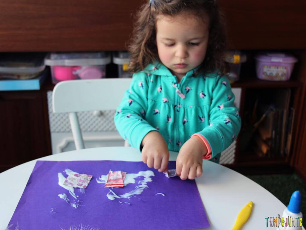 melhores atividades de artes para crianças de 2 a 3 anos colagem
