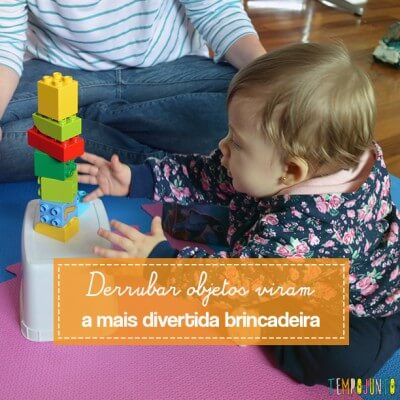 Brinquedos simples para brincar de derrubar com seu bebê