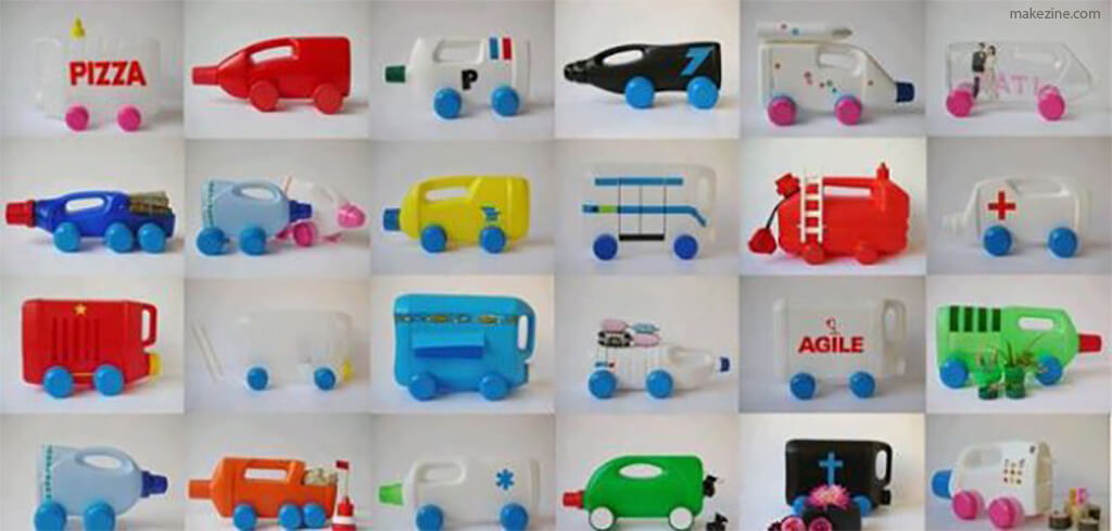 10 ideias de brinquedos feitos com garrafas plásticas - carrinhos plasticos