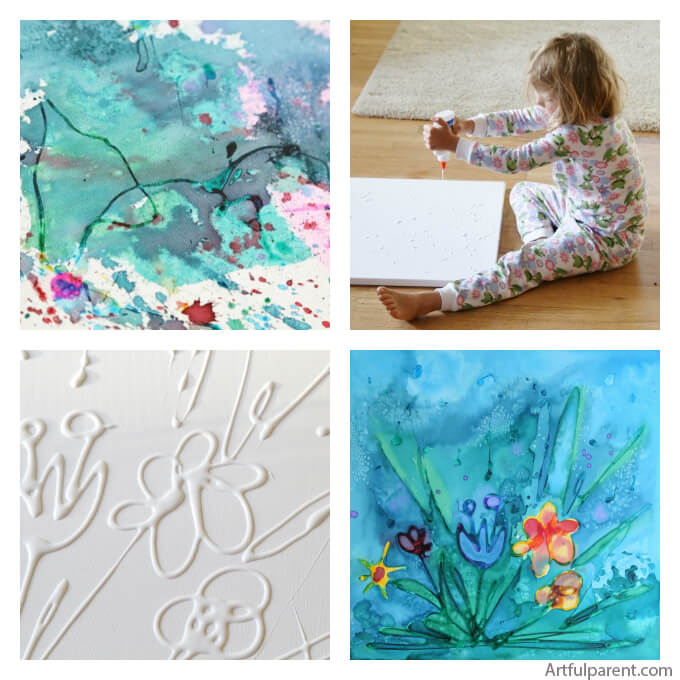 10 ideias para fazer arte com as criancas - aquarela e cola
