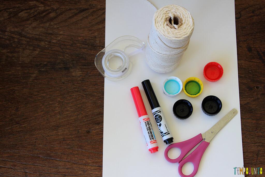 Como transformar tampas de garrafa em brinquedo - materiais