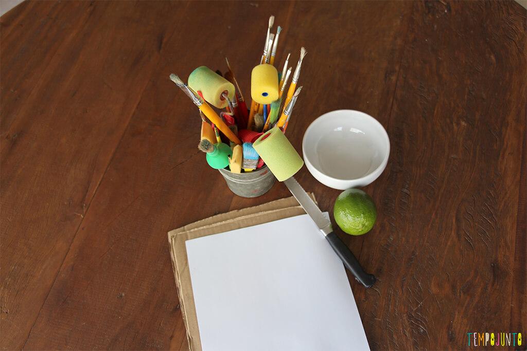 Pintura com limao - materiais