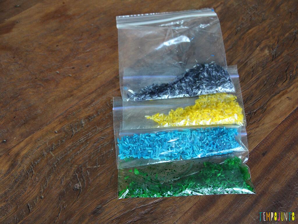 Arte com arroz colorido - arrozes coloridos