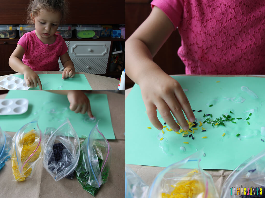 Arte com arroz colorido - gabi colando os arrozes