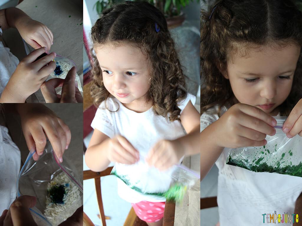 Arte com arroz colorido - gabi colocando corante verde no arroz