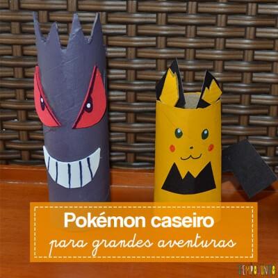 Brinquedo caseiro de rolo de papel higiênico à la Pokemon