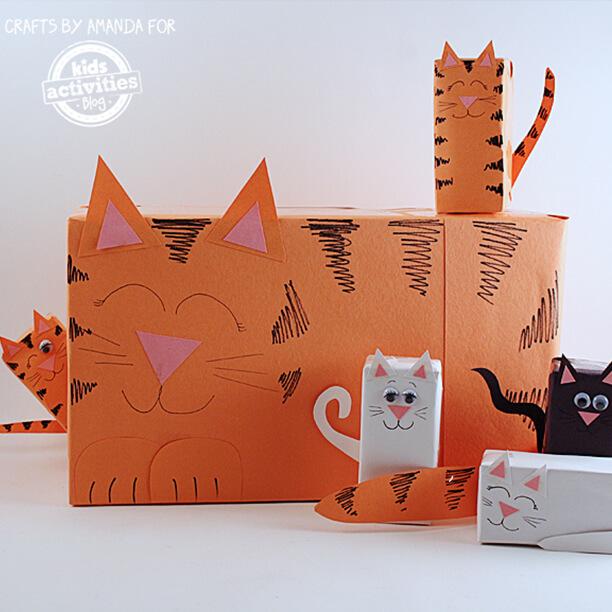 10 brinquedos caseiros - gatinhos de papelao