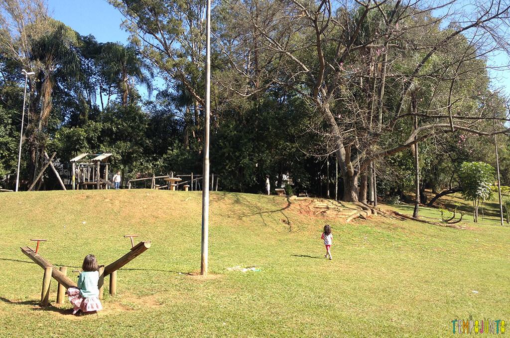 Espaços livres em parques e praças podem ser aproveitados para brincar - meninas no parque