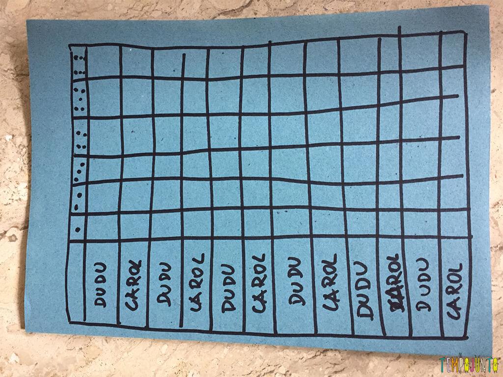 Mais uma dica de jogos de dados para crianças - tabela