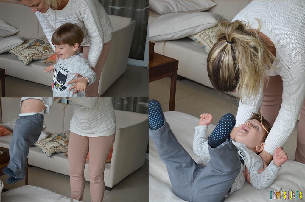 Porque almofadas são brinquedos ideais para você se divertir com seu bebê - mariana e pietro pulando