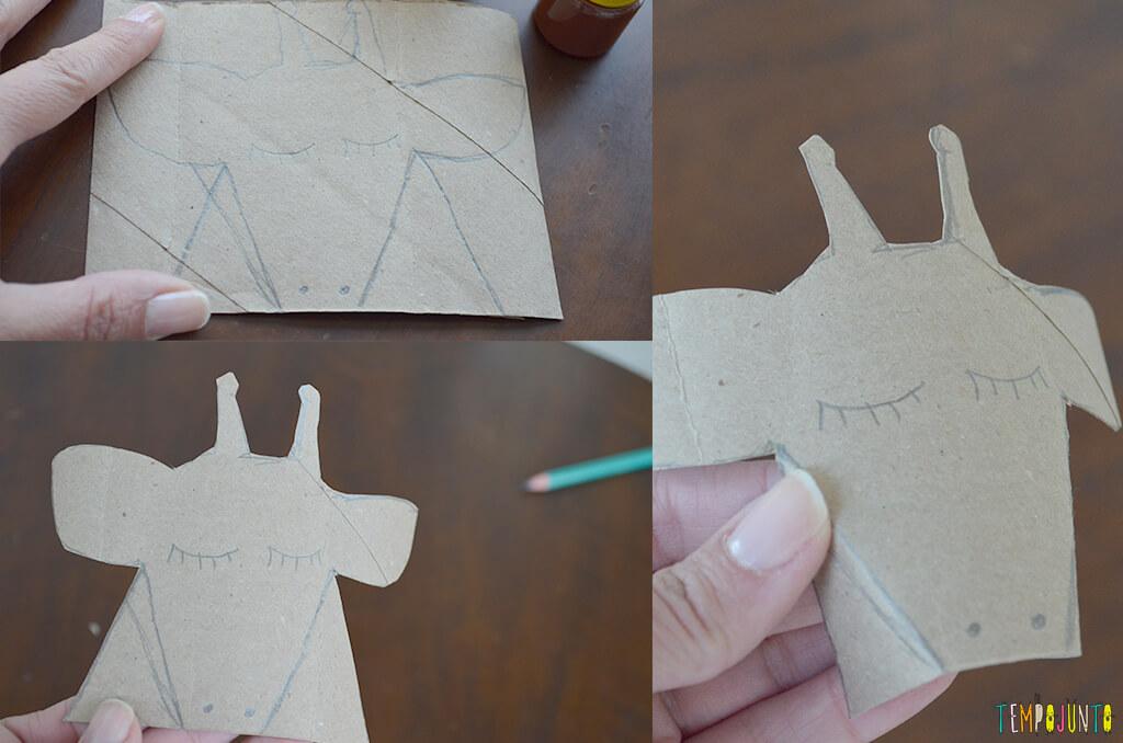 Um fantoche diferente feito de tubo de papel toalha - desenho e corte da girafa
