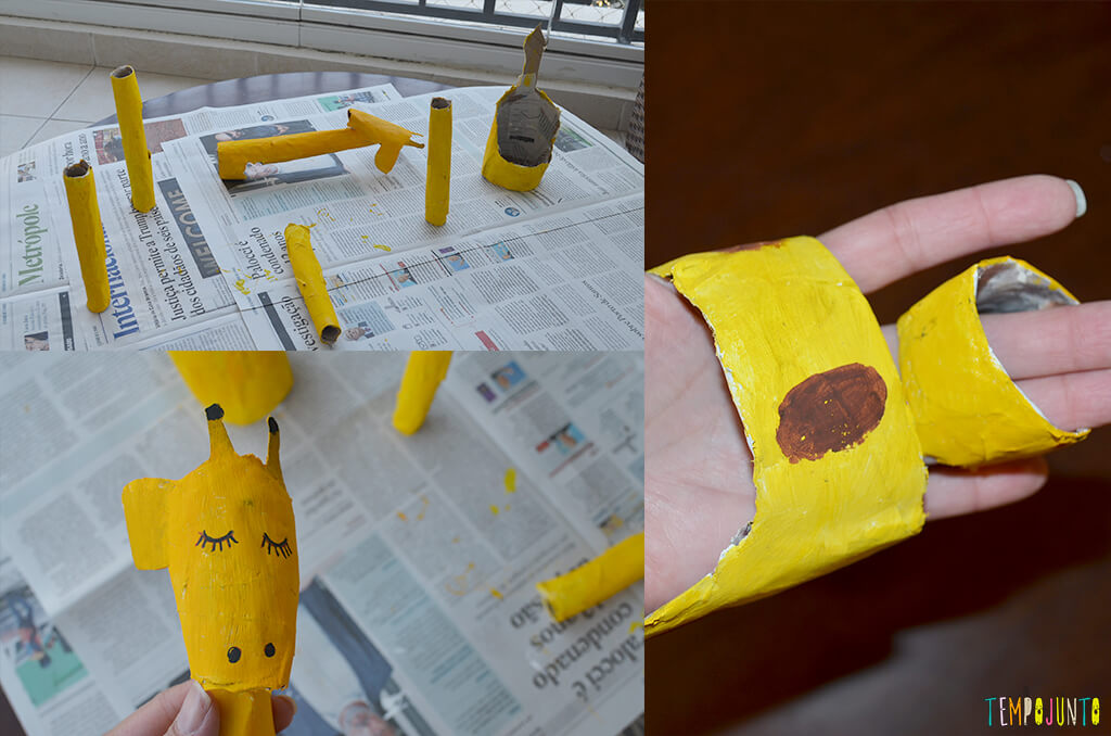Um fantoche diferente feito de tubo de papel toalha - Girafa pintada
