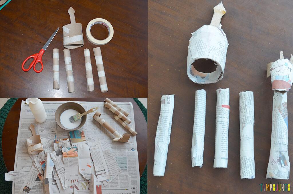 Um fantoche diferente feito de tubo de papel toalha - partes com papel de jornal
