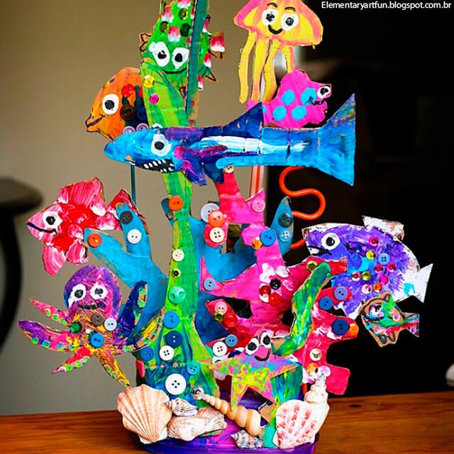 10 ideias criativas para brincar de fundo do mar - recife de corais