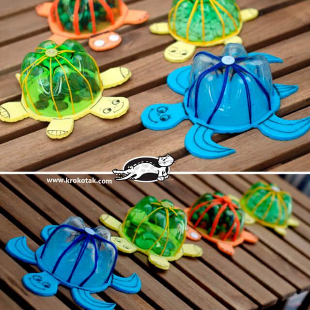 10 ideias criativas para brincar de fundo do mar - tartaruga de garrafa