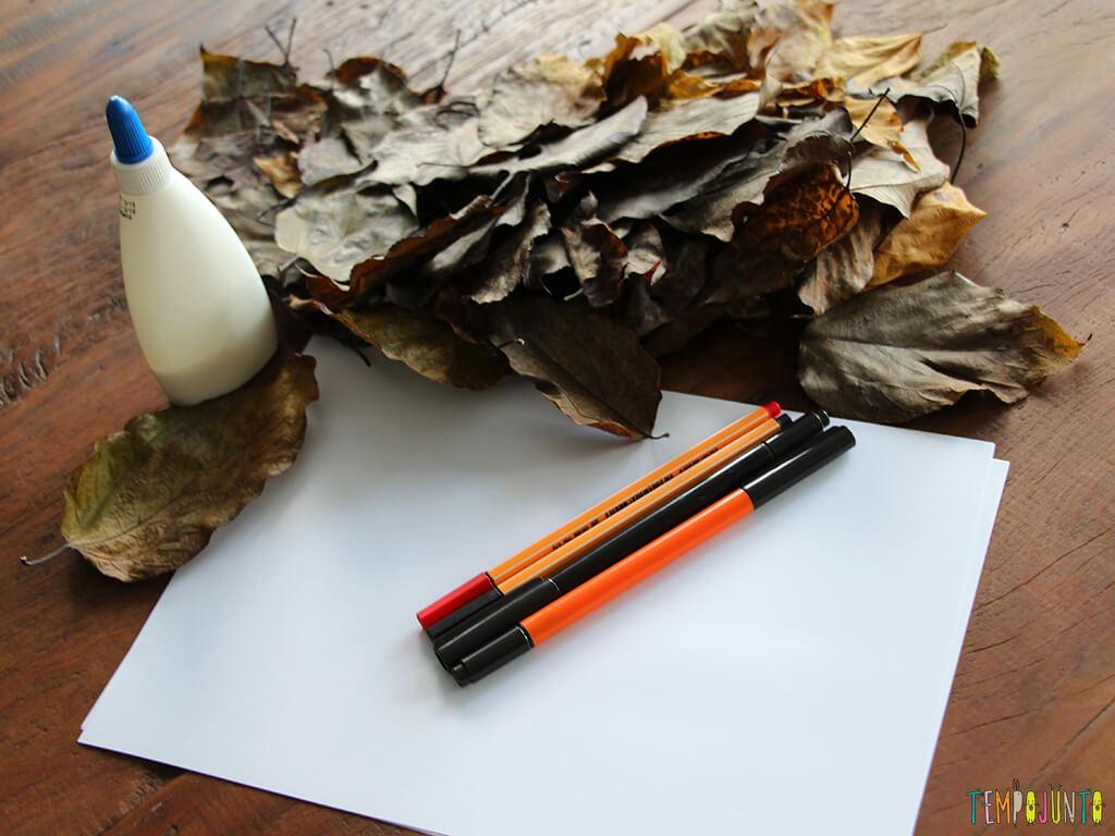 Arte com folhas de árvore_materiais