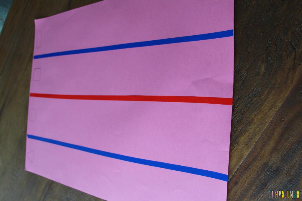 Atividade de raciocínio para crianças pequenas - pista cartolina