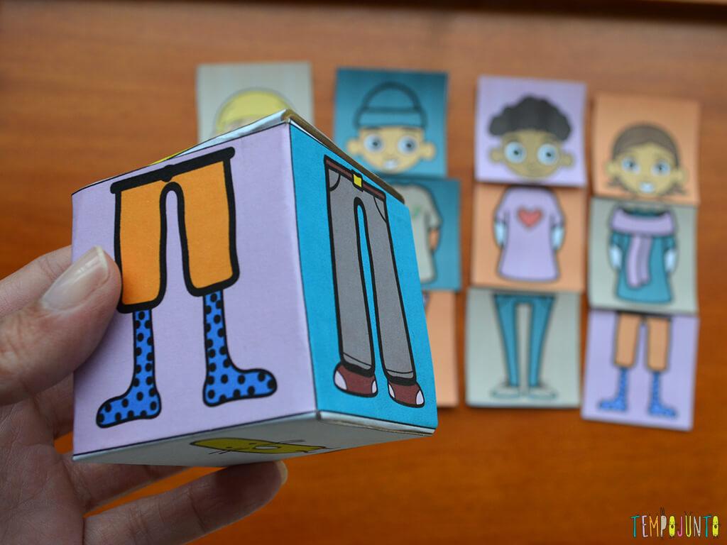 Brinquedo caseiro que provoca o raciocínio dos bebês_printable_dado primeiro plano e peças atras
