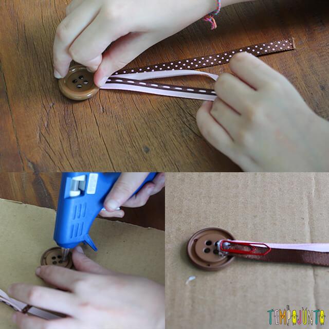 Presente caseiro para o Dia dos Professores - colando o botao e os clipes