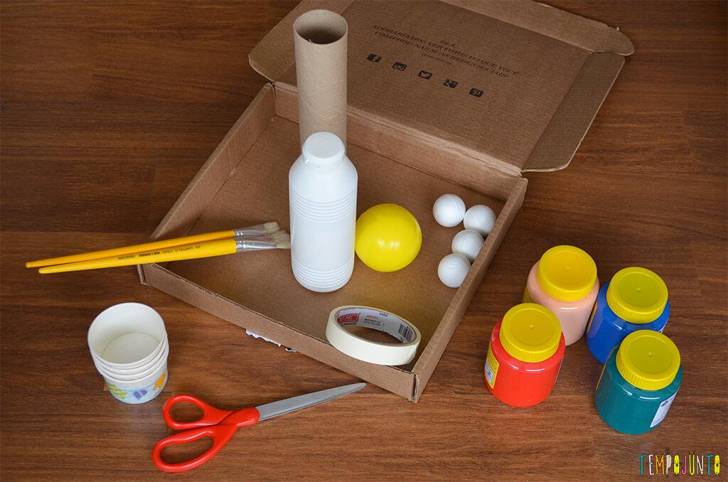 Um brinquedo para praticar a paciência e o sentido de direção - materiais