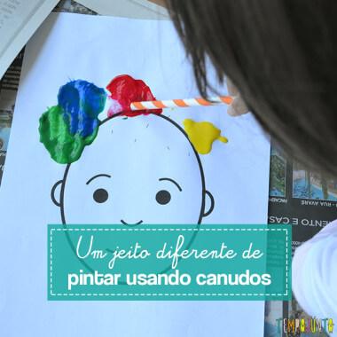 Pintura para crianças usando canudo no lugar do pincel