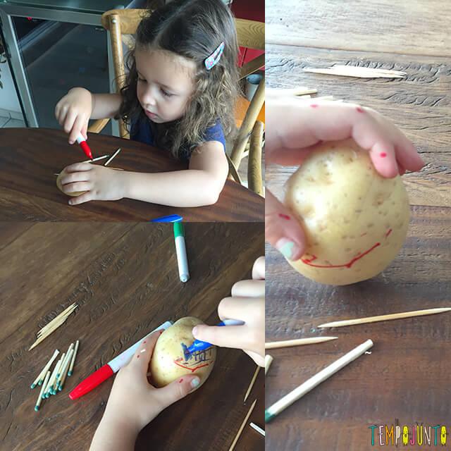 Como fazer bonecos de batata - gabi pintando a batata