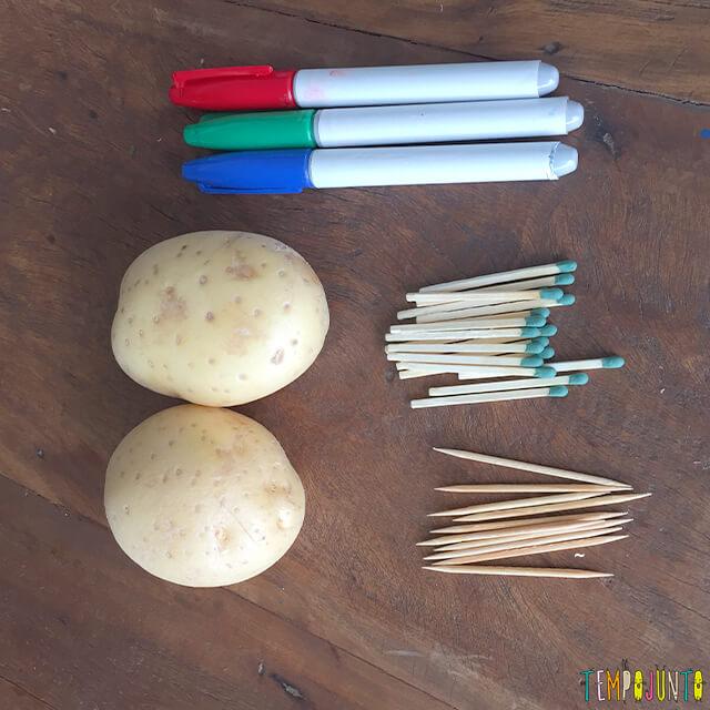 Como fazer bonecos de batata - materiais