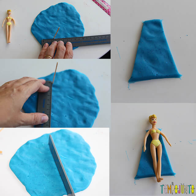 Como fazer roupinha de massinha - montando vestido azul