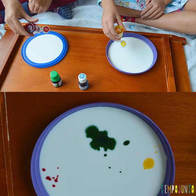 Uma pintura com corante e cola para crianças - derramando corante