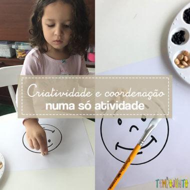 Arte com colagem de grãos para crianças