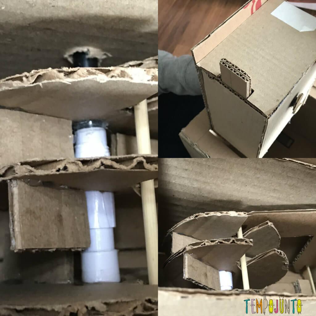 engrenagem do cofre de papelão. Montagem do brinquedo caseiro