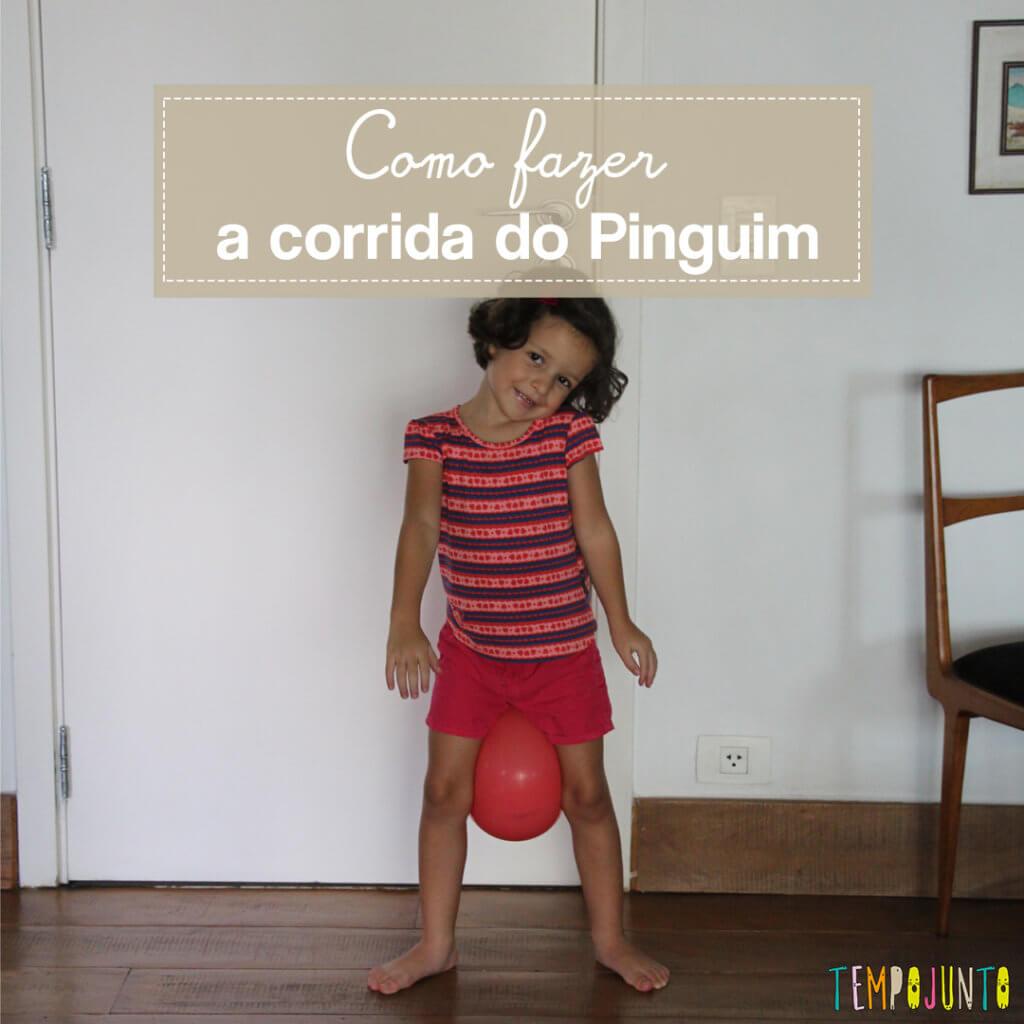 Brincadeira de movimento com bexiga: Corrida do Pinguim